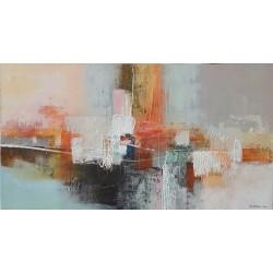 Division-Art Balinais: Toile contemporaine horizontale-130x70- Dex kusuma