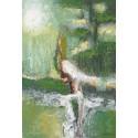 MORNING SUN-Peinture abstraite ton vert- 70x100-Dex kusuma
