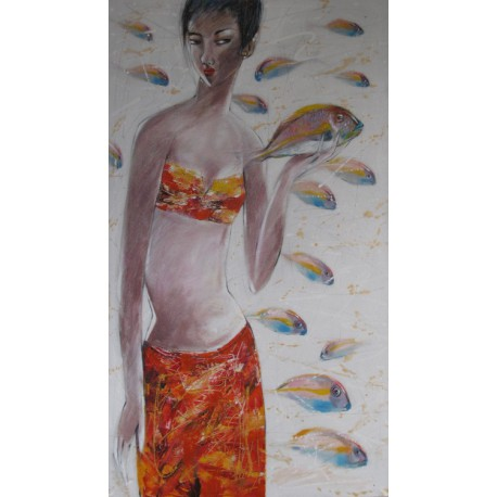 Toile verticale -Femme avec poisson- 140x80 cm