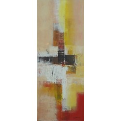 TABLEAU PEINTURE ABSTRAITE: CITY YELLOW SEASON-40x100-Dex kusuma