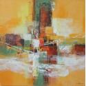 STORM-Tableau orangé abstrait contemporain-100x100 cm- Dex kusuma