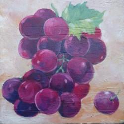 Mini peinture fruit Raisin rouge- 30x30 cm