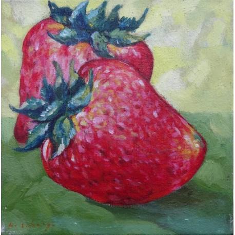 Mini peinture fruits Fraises- 30x30 cm