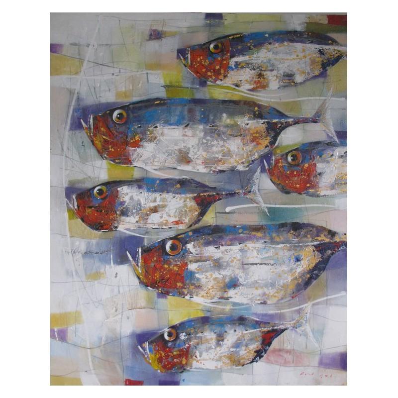 Banc de poissons fond color tableau vertical grand - Tableau contemporain grand format ...