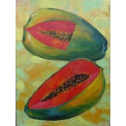 Mini peinture fruit papaye- 40x30 cm