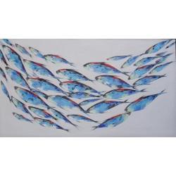 Tableau déco marin poissons thons rouges en banc - 160x90 cm