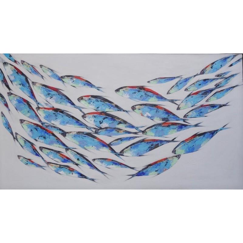 tableau d co marin poissons thons rouges en banc 160x90 cm. Black Bedroom Furniture Sets. Home Design Ideas