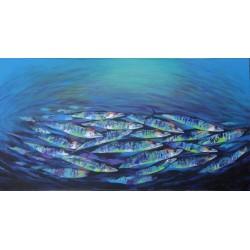 Tableau déco marin poissons barracudas en banc - 150x80 cm