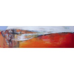 Tableau abstrait orange poisson - 200x60 cm