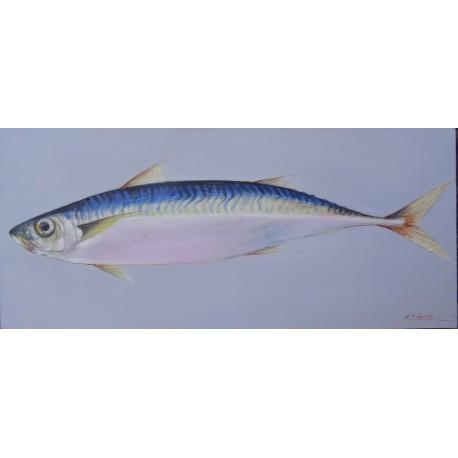 Tableau peinture maquereau- 90x40 cm