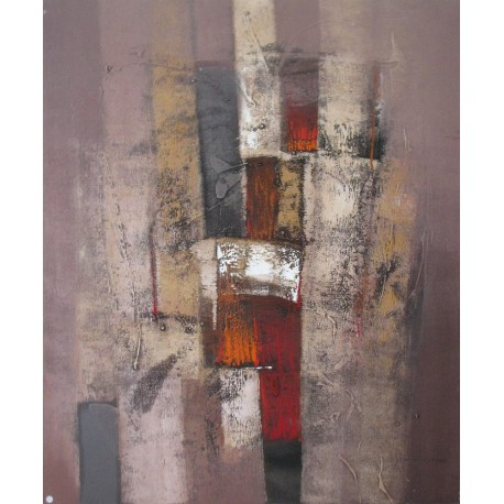 Suwitra tableau abstrait contemporain ton chocolat 120x100 cm - Tableau grand format contemporain ...
