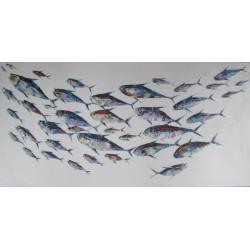 banc de poissons tableau contemporain tr s grand format panoramique 200x100 cm. Black Bedroom Furniture Sets. Home Design Ideas