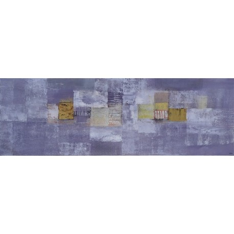 Tableau abstrait horizontal gris violet -or- 150x50 cm- Suarsa