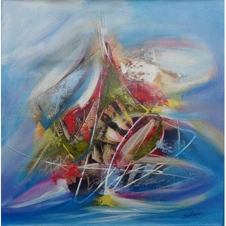 Tableau peinture bateau abstrait ton bleu 60x60 cm