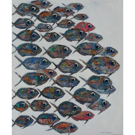 Peinture à l'huile banc de poissons en mer- 120x100 cm