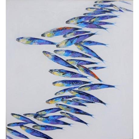 Tableau banc de poissons fond blanc, peinture acrylique 130x120 cm