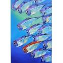 Banc de poissons en mer- tableau vertical 140x90 cm