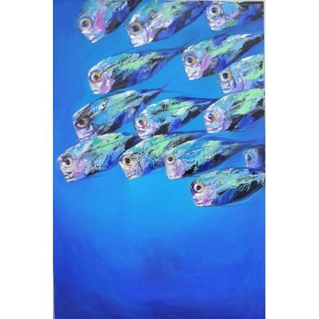 Banc de poissons de mer- tableau moderne design vertical 150x100 cm