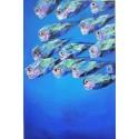 Banc de poissons de mer - tableau moderne design vertical 150x100 cm