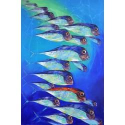 Tableau grande taille poissons de mer- 180x120 cm
