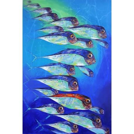 Tableau vertical banc poissons colorés fond bleu grande taille 180x120 cm