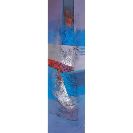 Tableau abstrait ton bleu gris vertical 140x40 cm