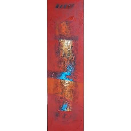 Tableau design ton rouge vertical 140x40 cm