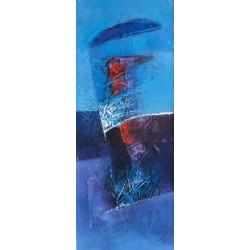 Tableau déco maison bleu 100x40 cm