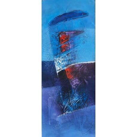 Tableau déco maison à dominante bleue 100x40 cm