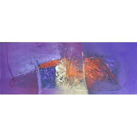 Tableau abstrait violet horizontal 100x40 cm
