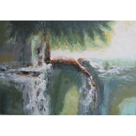 Waterfall-Tableau abstrait contemporain panoramique- 200x140 - Dex Kusuma