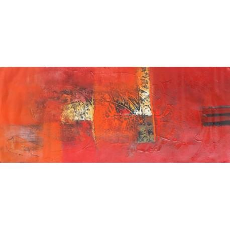 Toile horizontale ton rouge 120x50 cm