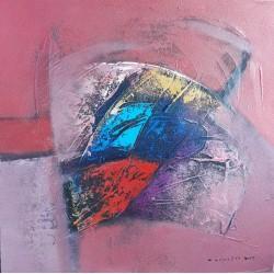Tableau décoratif carré rouge-rose 60x60 cm