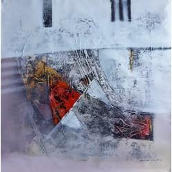 Tableau contemporain abstrait cozy 80x80 cm