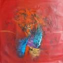 Tableau couleur rouge format 80x80 cm