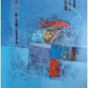 Tableau chambre ton bleu 90x90 cm