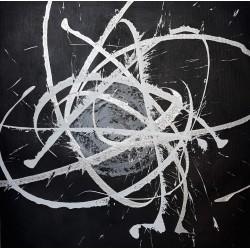 Tableau design noir et argent 90x90 cm