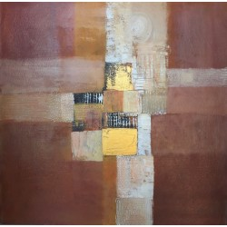 Tableau moderne cosy marron 90x90 cm