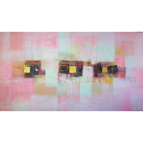 Tableau deco tendance rose-blanc horizontal 160x90 cm