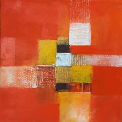 Petit tableau abstrait orange 50x50 cm