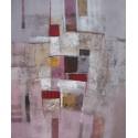 Tableau contemporain abstrait ton brun-gris-rosé-120x100 cm- Suwitra