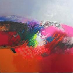 Tableau design et coloré style abstrait 120x120 cm