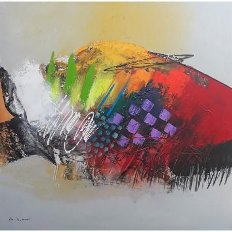Tableau style abstrait déco murale 100x100 cm