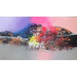 Tableau style abstrait coloré design 140x80 cm