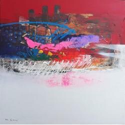 Tableau abstrait design et coloré dominante rouge blanc 90x90 cm