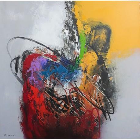 Tableau carré style abstrait coloré 90x90 cm
