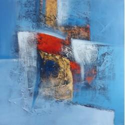Tableau abstrait bleu format 80x80 cm