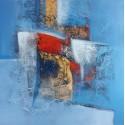 Tableau abstrait à dominante bleue format 80x80 cm