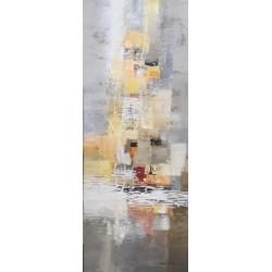 Tableau ton gris vertical abstrait Dex Kusuma 100x40 cm