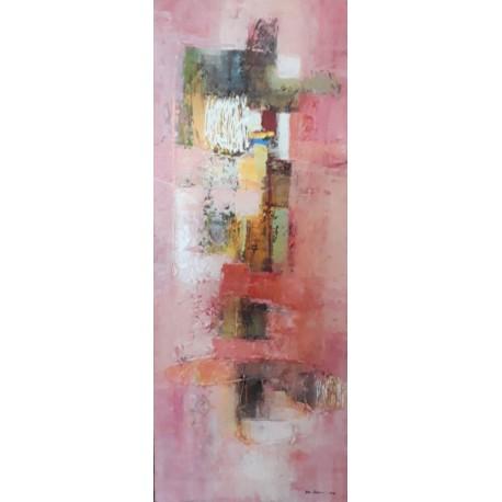 Grande toile abstraite verticale rose pastel 100x40 cm